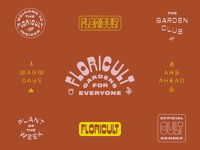 Floricult branding cult nature flowers garden vintage lettering wordmark icon layout identity branding logo typography