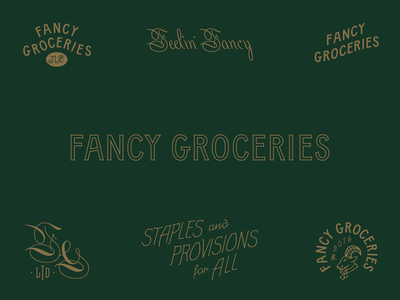 Fancy Groceries branding boutique shops clothing menswear design icon layout identity branding logo typography