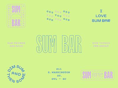 Sum Bar branding wordmark restaurant chinese dim sum design modern layout identity branding logo typography