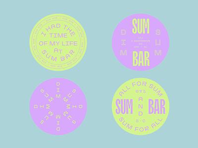 Sum Bar coasters coaster chinese dim sum restaurant wordmark modern layout identity branding logo typography
