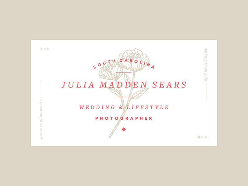 Business card overprint layout typography photographer flower illustration business card