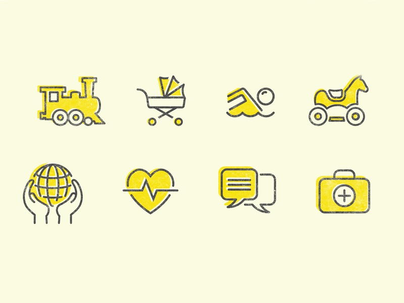 Charity icons toys hands world heart train horse overprint charity kids children illustration icons