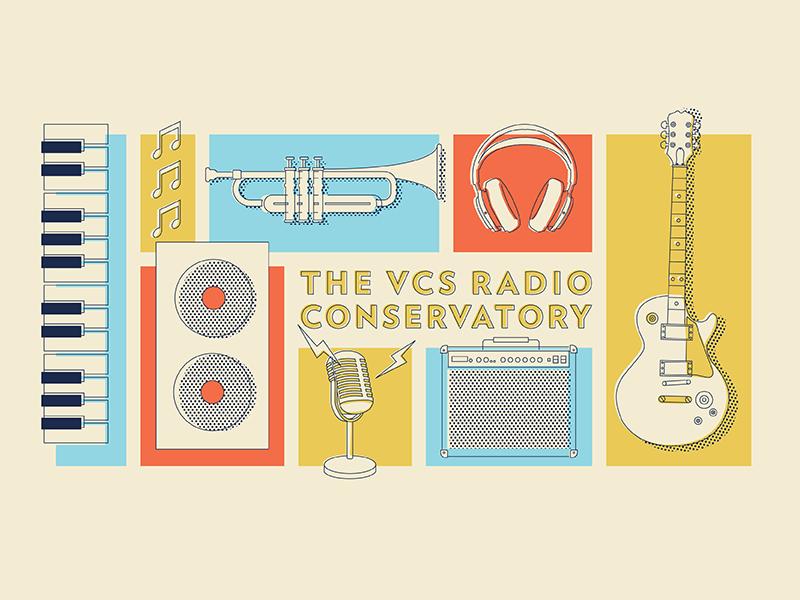 Radio station truck graphic illustration icon headphones speakers piano microphone guitar instruments music truck radio