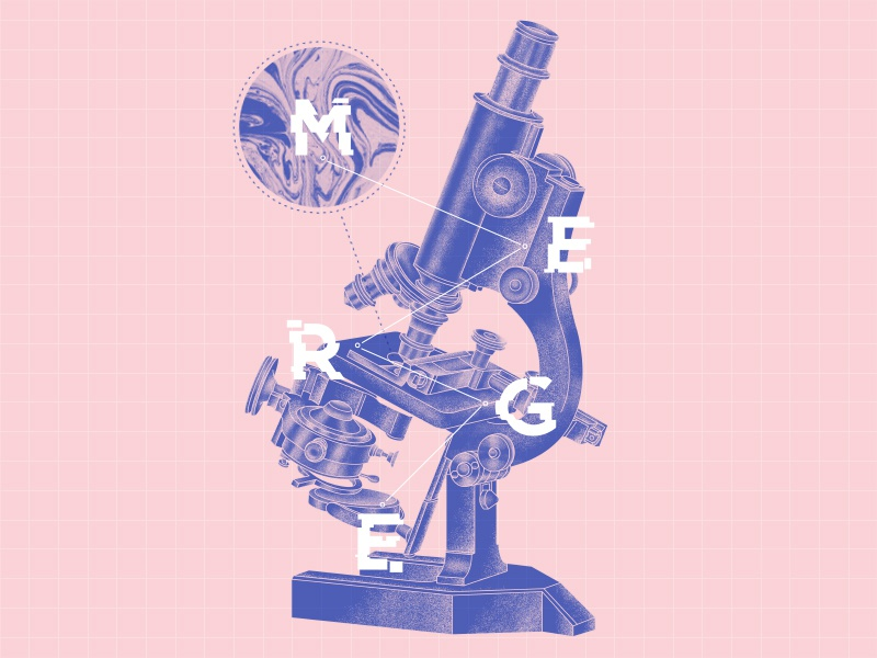 Microscope poster grid typography science drawing poster microscope illustration