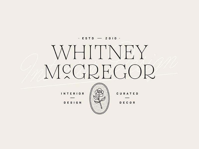Interior designer branding wordmark feminine badge script typography logo branding rose flower
