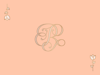 Fancy R swash typography calligraphic flower rose monogram logo gold lettering fancy r