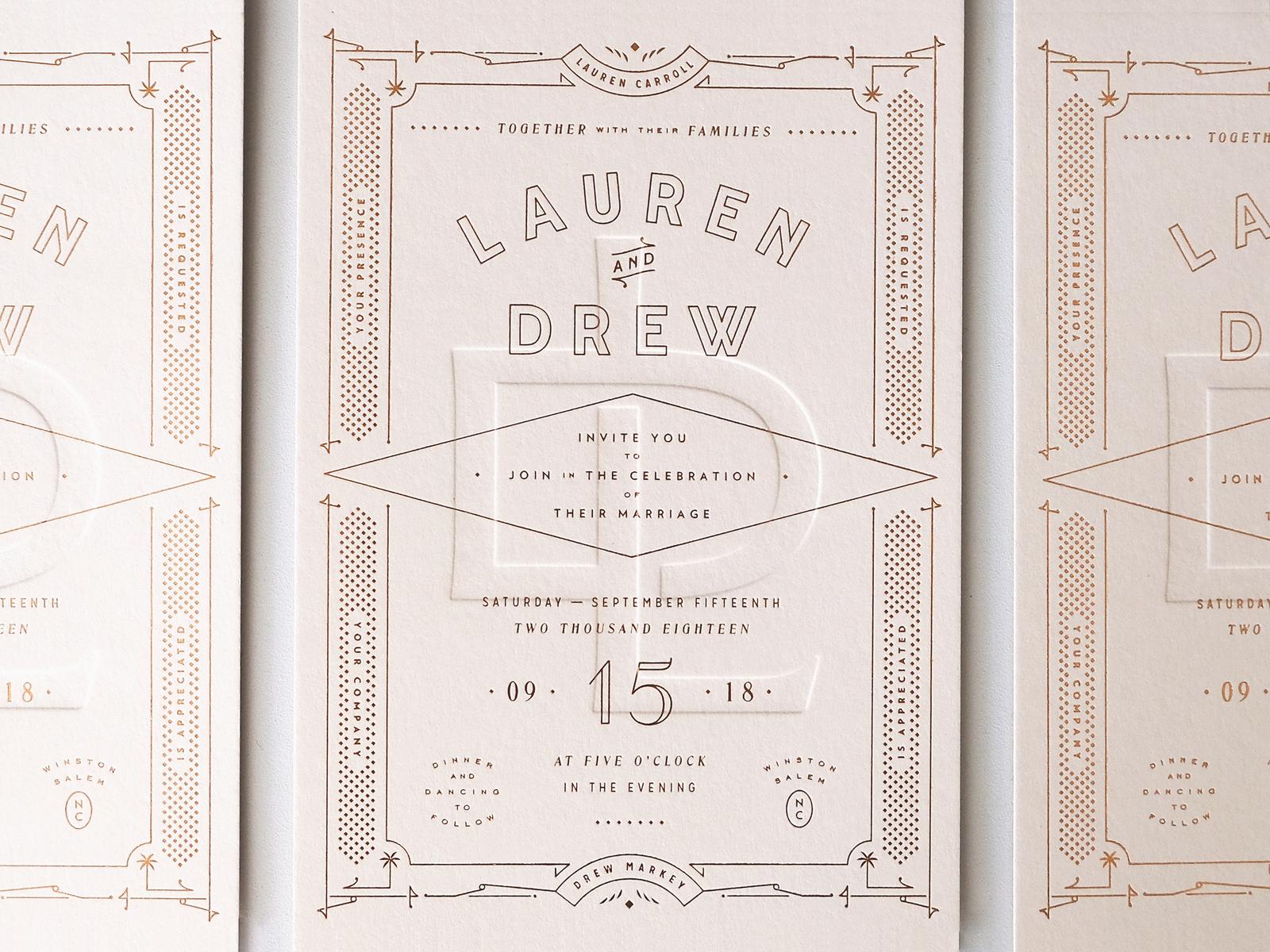 Wedding invitation design deboss foil overprint art deco card invitation wedding layout letterpress emboss french paper pink copper typography