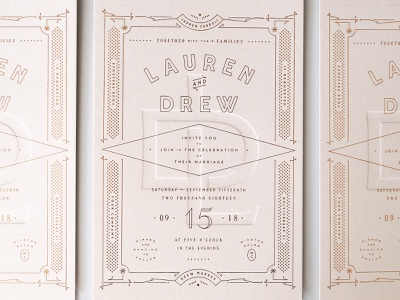 Wedding invitation design deboss foil overprint art deco card invitation wedding layout letterpress emboss french paper pink copper typography