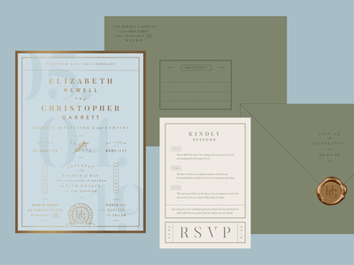 Wedding Suite letterpress monogram classic modern rsvp stamp emboss foil gold seal envelope invitation wedding
