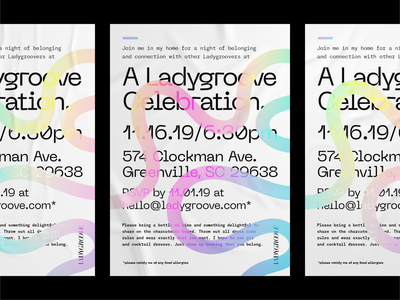 Party invitation colorful celebration holographic gradient blob bold poster flyer typography layout invitation party