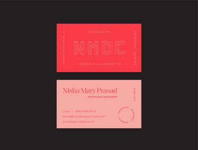 NMDC business cards shapes color identity branding logo geometric monoline modern interior design architect architecture business cards