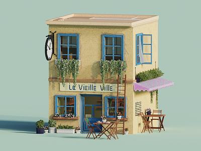 La Vieille Ville lowpoly illustration diorama 3dmodelling magicavoxel voxelart voxel