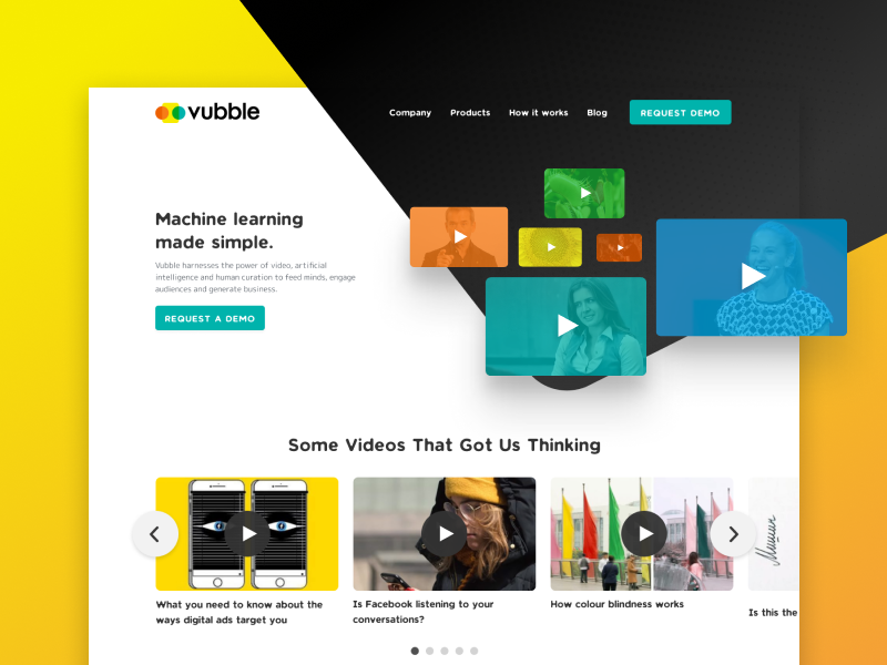 Vubble Website illustration ai machine learning video design website