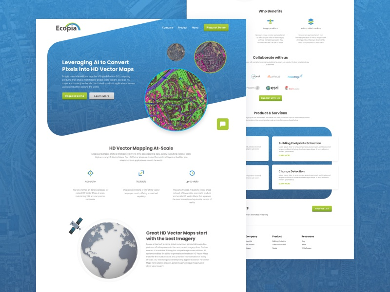 Ecopia Website vector maps machine learning ai web brand design website