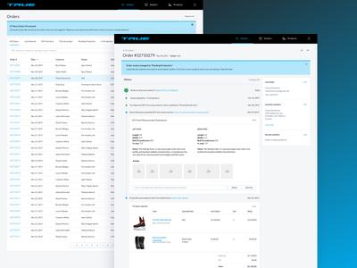 True Hockey Digital Experience Management timeline order experience digital dashboard ui ux product skates hockey true