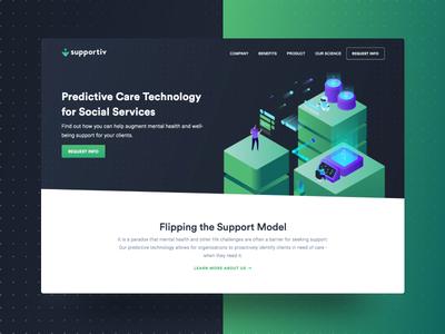 Supportiv.ai Website landing support marketing social services predictive ai branding illustration ux design web website