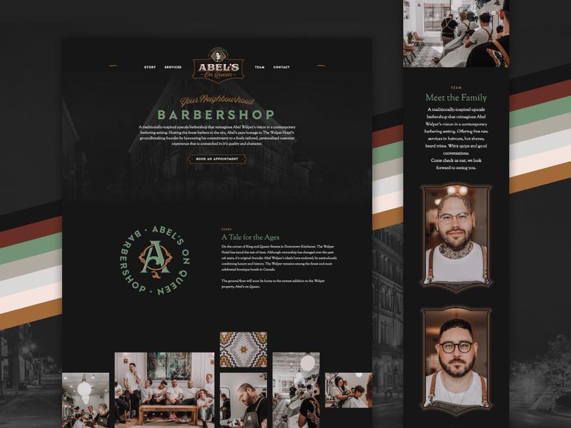Abel's on Queen Barbershop Website responsive mobile design web website haircut barbers barbershop