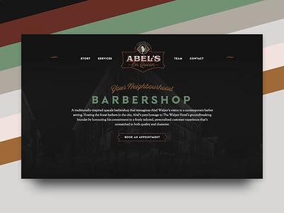 Abel's on Queen Barbershop Website animation modern clean dark booking graphic hotel barber barbershop webflow design web website
