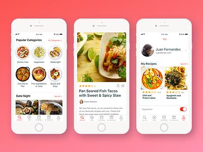 Recipe App product design app design app iphone ios