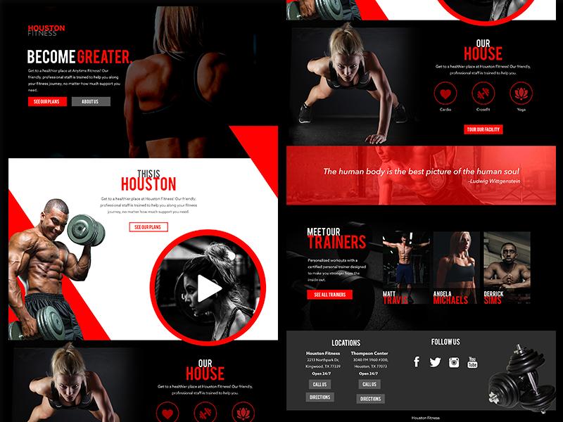 Houston Fitness Desktop Concept health fitness black red desktop houston gym