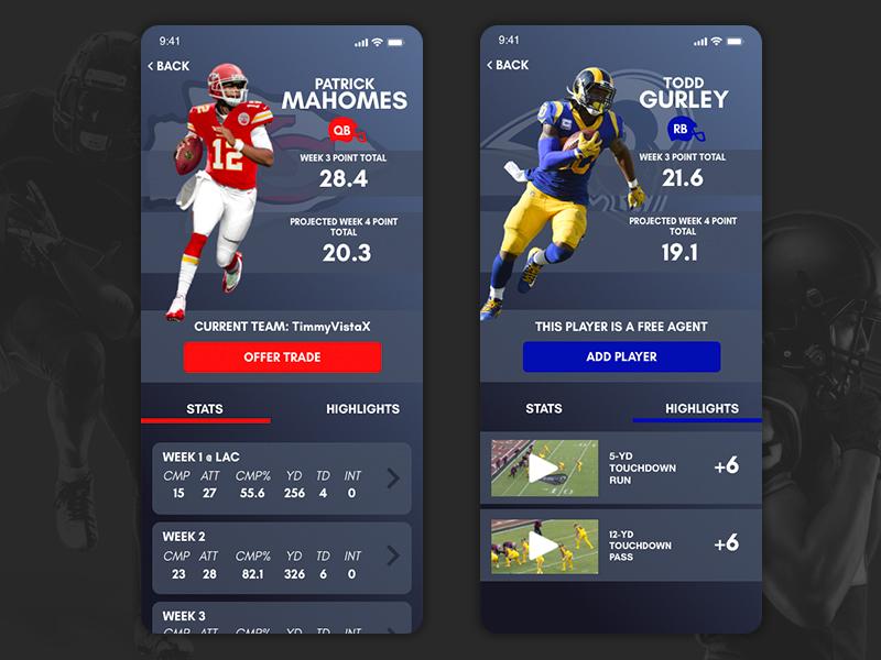 Fantasy Football App - Player Profiles ncaa nfl app fantasy sports football