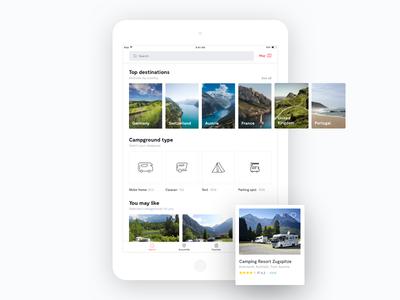Camparound - iPad app camping ipad startup ux ui cards home view camparound mobile ios app