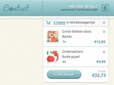 Shoppingcart webshop shoppingcart checkout detail shopping profile header bag price belgium products shop basket ecommerce flyout