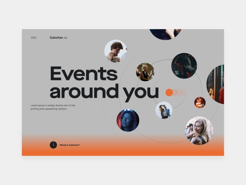 Catcher.io party event party social app social site figma web site ui simple minimal art design