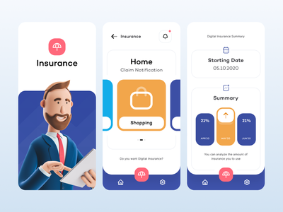 Digital Insurance - Mobile user interface modern mobile design app design experience ux design insurance finance iphone ux mobile figma app ui minimal art design