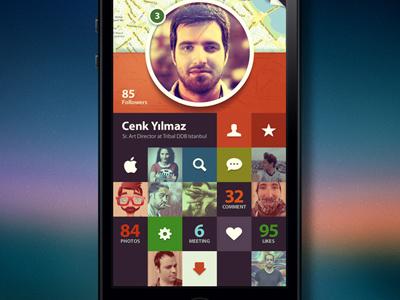 Profile iphone design art profile mobile app color grid facebook