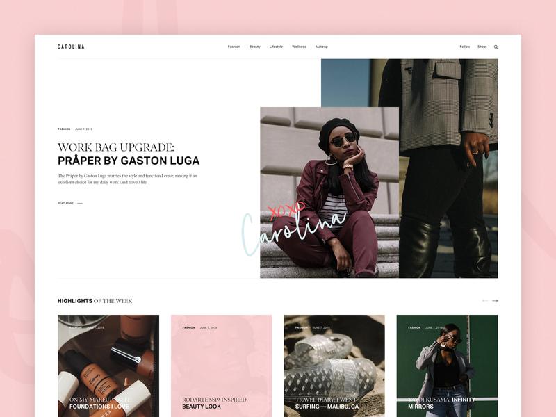 Carolina - Personal Blog ui user interface clean design web magazine ux
