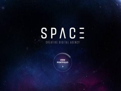 Space Agency space portfolio agency globe icon design full screen one page dark web