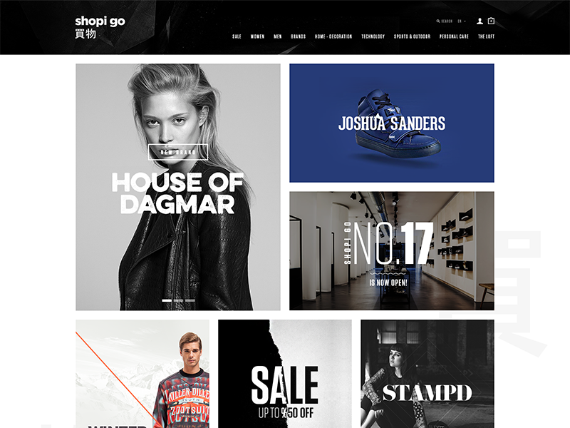 Shopi Go fashion shop web design clean modern