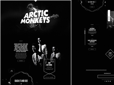 ArcticMonkeys.com music sound rock grunge minimal shape web design arctic monkeys
