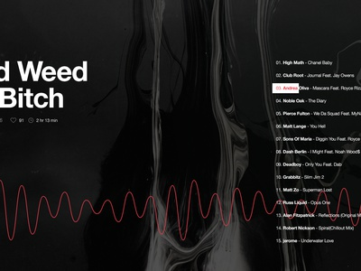 Mixtape playlist ux web layout modern black track mixtape music