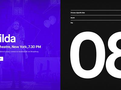 Event Exploration clean creative typography purple music calendar web ui dark event