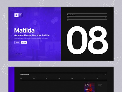 Event Exploration clean creative typography purple music calendar web ui dark event