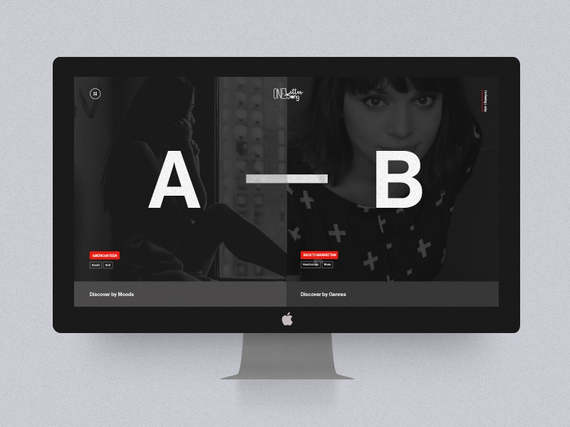One Letter One Song red icon typography color gradient dark ux ui music