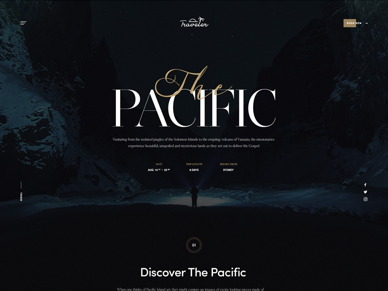 Traveler ux ui minimal photography black typography landing guide travel