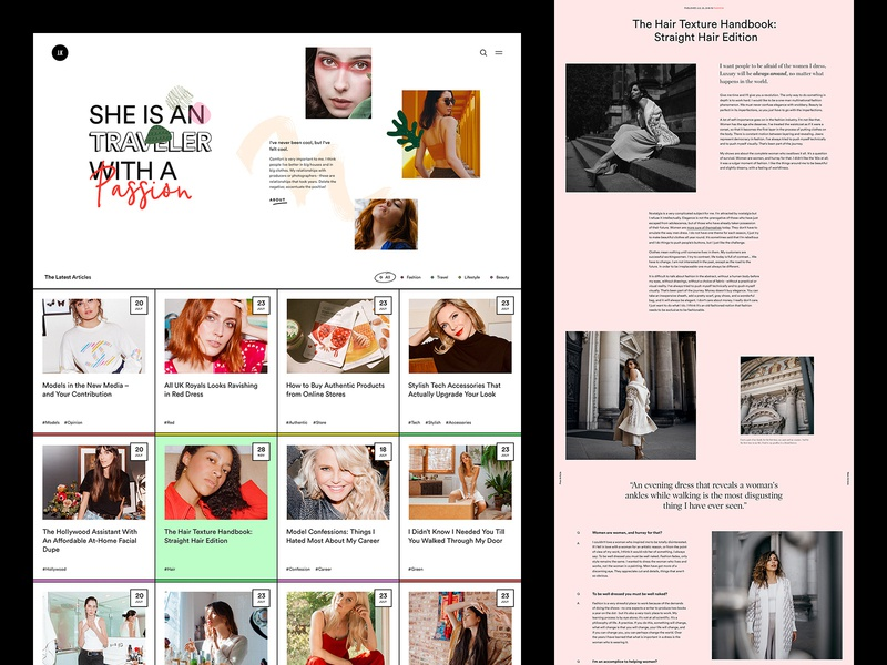 J.K Personal Blog article design web modern blog ui magazine ux