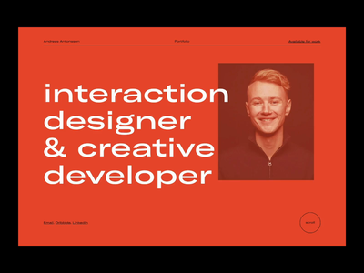 Portfolio — 001. Index. page minimal clean website transition intro reveal portrait brightness typography ui portfolio