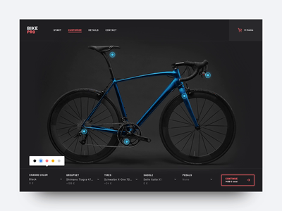 Bike Shop Customization interaction motion webshop customize configuration transition page animation ui website color picker bicycle