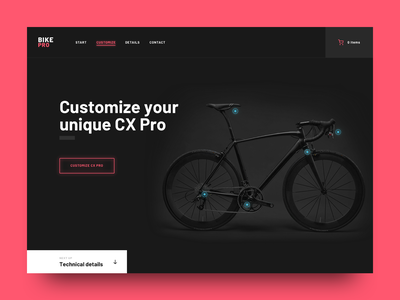 Bicycle Webshop Landing Page website page landing page bicycle bike hotspots campaign webshop shop ux ui