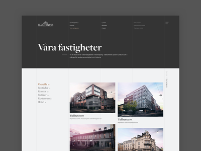 Magnentus Properties Grid architecture real estate grid layout typography masonry page website ui