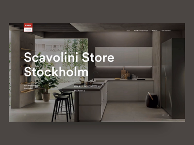 Scavolini Store Stockholm interior landing page kitchen displacement slider layout transition page animation website