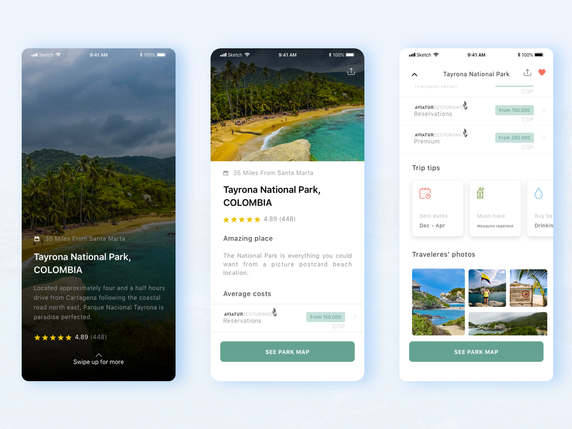 Colombian Tourism App sketch app uxuidesign beach colombia tour guide tourism mobile app ux  ui