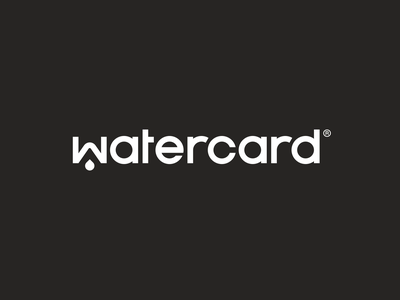 Watercard® — Logo white animation earth plastic sustainable drop credit card charity water logo design logo
