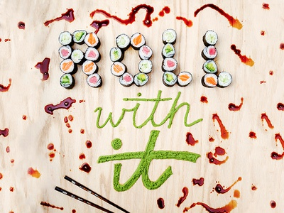 Roll With It – Handmade Type headline editorial type illustration hand lettering food sushi food lettering food typography food type lettering typography