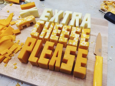 Extra Cheese Please – Cheese Type headline editorial type illustration hand lettering food cheese food lettering food typography food type lettering typography