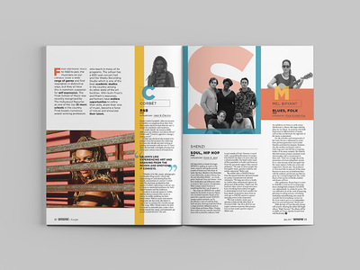 Musicians of UM Spread layout typography magazine design magazine editorial design editorial